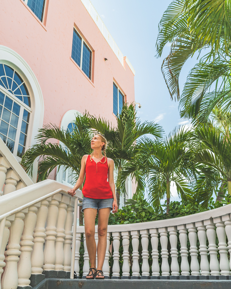 Michelle standing on the steps of the famous Don Cesar on St. Pete Beach, Florida