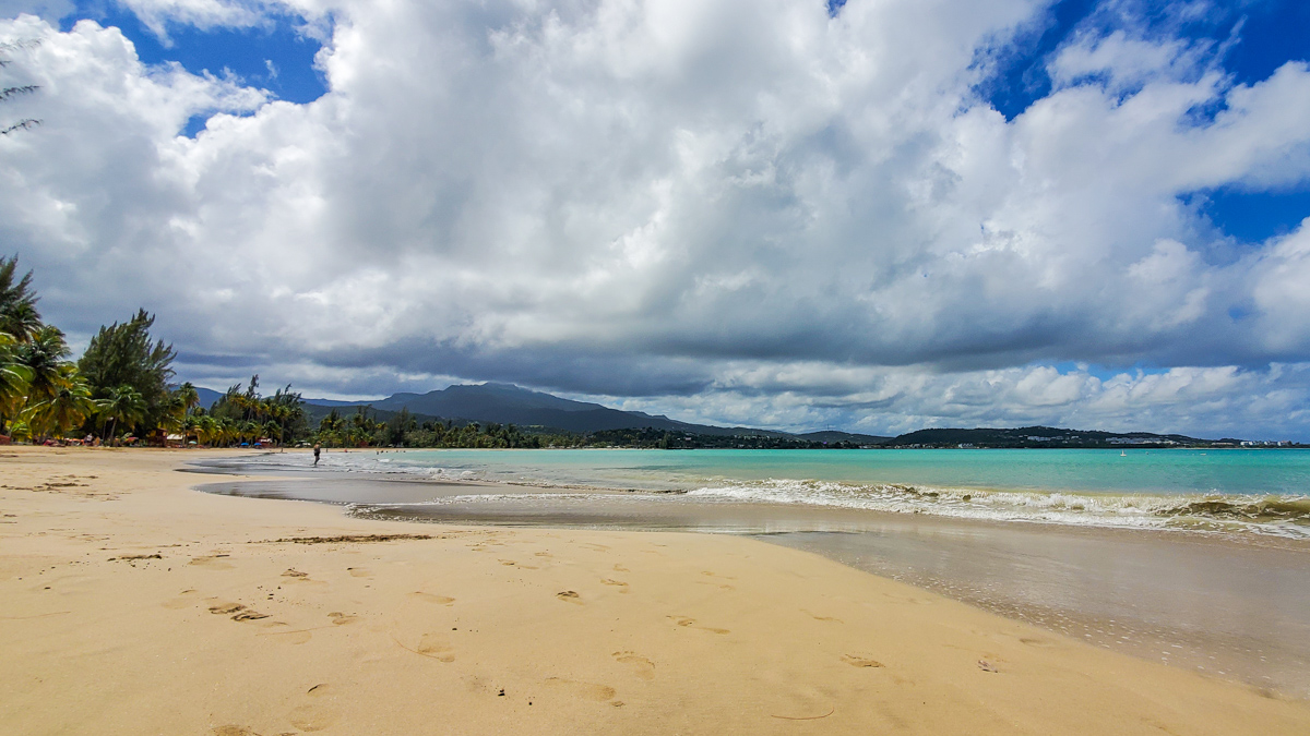 Luquillo Beach with views of El Junque in distance