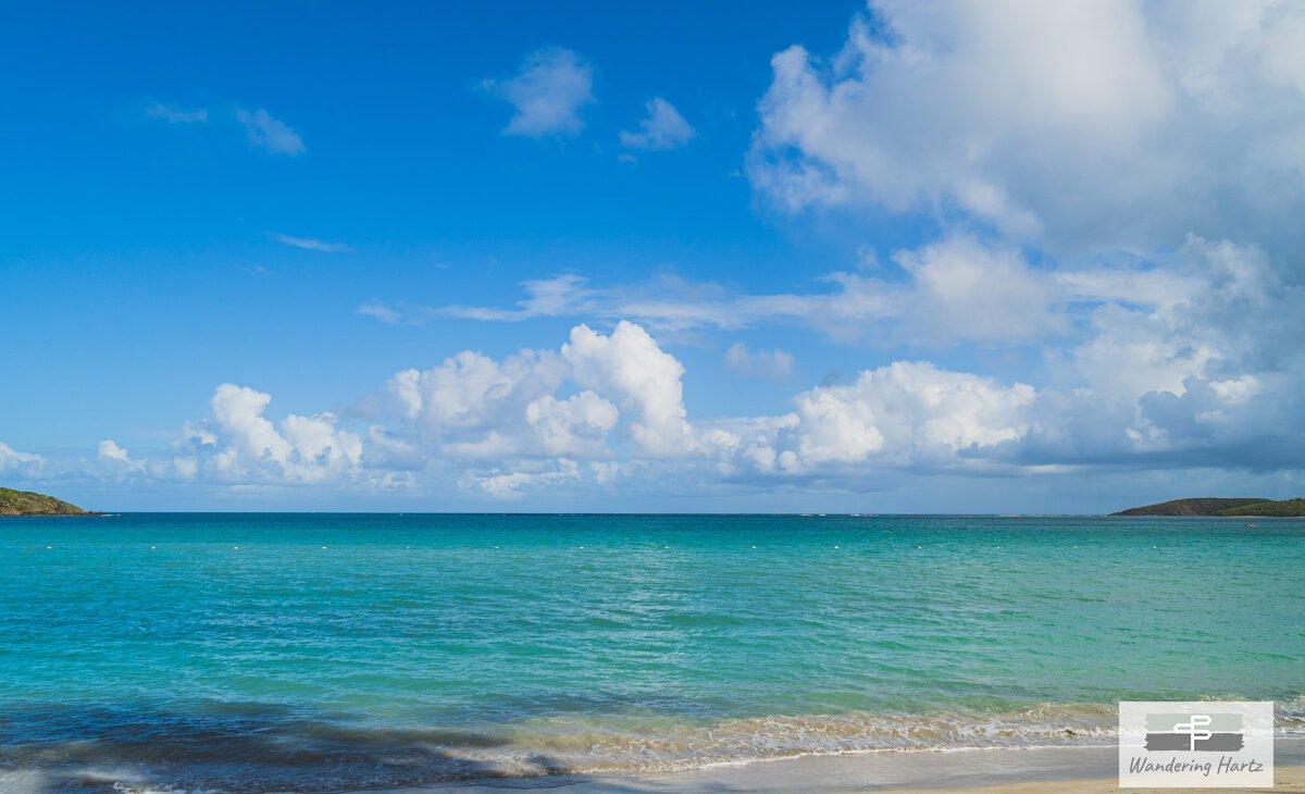 The view from Seven Seas Beach of Bahia las Cabezas and the Atlantic Ocean beyond. Fajardo, Puerto Rico © Joel Hartz